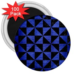 Triangle1 Black Marble & Blue Brushed Metal 3  Magnet (100 Pack) by trendistuff