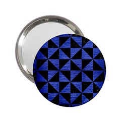 Triangle1 Black Marble & Blue Brushed Metal 2 25  Handbag Mirror by trendistuff