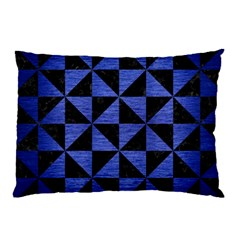Triangle1 Black Marble & Blue Brushed Metal Pillow Case by trendistuff