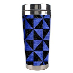 Triangle1 Black Marble & Blue Brushed Metal Stainless Steel Travel Tumbler by trendistuff