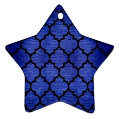 Tile1 Black Marble & Blue Brushed Metal (r) Ornament (star) by trendistuff