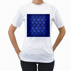 Tile1 Black Marble & Blue Brushed Metal (r) Women s T Shirt (white) (two Sided) by trendistuff