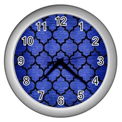 Tile1 Black Marble & Blue Brushed Metal (r) Wall Clock (silver) by trendistuff