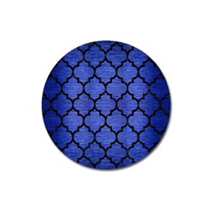 Tile1 Black Marble & Blue Brushed Metal (r) Magnet 3  (round) by trendistuff