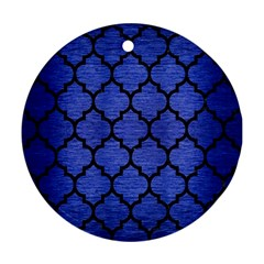 Tile1 Black Marble & Blue Brushed Metal (r) Round Ornament (two Sides) by trendistuff