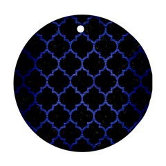 Tile1 Black Marble & Blue Brushed Metal Round Ornament (two Sides) by trendistuff