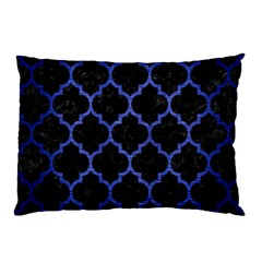 Tile1 Black Marble & Blue Brushed Metal Pillow Case by trendistuff