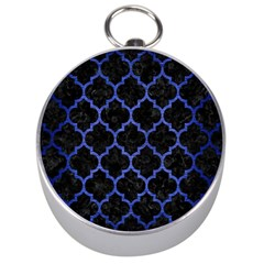 Tile1 Black Marble & Blue Brushed Metal Silver Compass by trendistuff