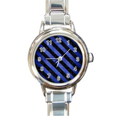 Stripes3 Black Marble & Blue Brushed Metal (r) Round Italian Charm Watch by trendistuff