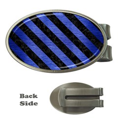 Stripes3 Black Marble & Blue Brushed Metal (r) Money Clip (oval) by trendistuff