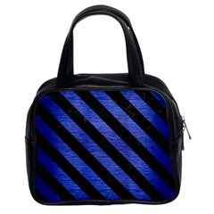 Stripes3 Black Marble & Blue Brushed Metal (r) Classic Handbag (two Sides) by trendistuff