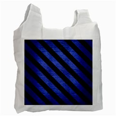Stripes3 Black Marble & Blue Brushed Metal (r) Recycle Bag (one Side) by trendistuff