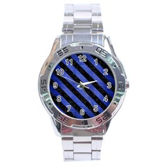 Stripes3 Black Marble & Blue Brushed Metal (r) Stainless Steel Analogue Watch by trendistuff