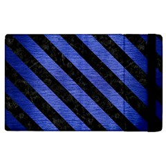 Stripes3 Black Marble & Blue Brushed Metal (r) Apple Ipad 3/4 Flip Case by trendistuff