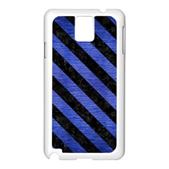 Stripes3 Black Marble & Blue Brushed Metal (r) Samsung Galaxy Note 3 N9005 Case (white) by trendistuff