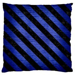 Stripes3 Black Marble & Blue Brushed Metal (r) Large Flano Cushion Case (two Sides) by trendistuff