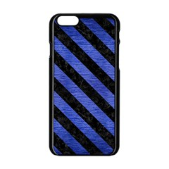 Stripes3 Black Marble & Blue Brushed Metal (r) Apple Iphone 6/6s Black Enamel Case by trendistuff