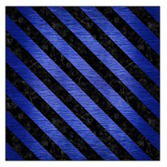 Stripes3 Black Marble & Blue Brushed Metal (r) Large Satin Scarf (square) by trendistuff