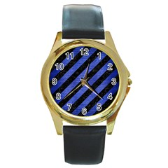 Stripes3 Black Marble & Blue Brushed Metal Round Gold Metal Watch by trendistuff