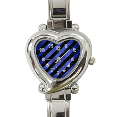 Stripes3 Black Marble & Blue Brushed Metal Heart Italian Charm Watch by trendistuff