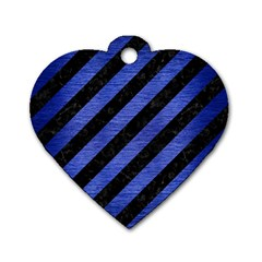 Stripes3 Black Marble & Blue Brushed Metal Dog Tag Heart (one Side) by trendistuff