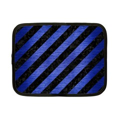 Stripes3 Black Marble & Blue Brushed Metal Netbook Case (small) by trendistuff