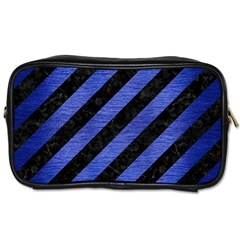 Stripes3 Black Marble & Blue Brushed Metal Toiletries Bag (two Sides) by trendistuff