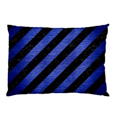 Stripes3 Black Marble & Blue Brushed Metal Pillow Case (two Sides) by trendistuff