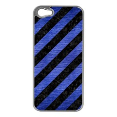 Stripes3 Black Marble & Blue Brushed Metal Apple Iphone 5 Case (silver) by trendistuff