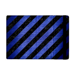 Stripes3 Black Marble & Blue Brushed Metal Apple Ipad Mini Flip Case by trendistuff