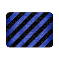 Stripes3 Black Marble & Blue Brushed Metal Double Sided Flano Blanket (mini) by trendistuff