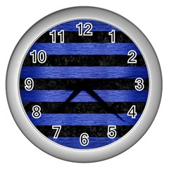 Stripes2 Black Marble & Blue Brushed Metal Wall Clock (silver) by trendistuff