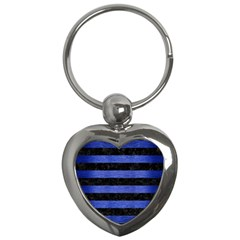 Stripes2 Black Marble & Blue Brushed Metal Key Chain (heart) by trendistuff