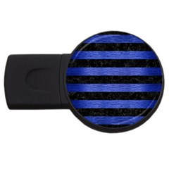 Stripes2 Black Marble & Blue Brushed Metal Usb Flash Drive Round (2 Gb) by trendistuff