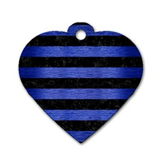 Stripes2 Black Marble & Blue Brushed Metal Dog Tag Heart (one Side) by trendistuff