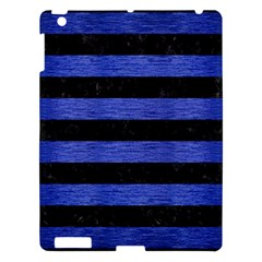 Stripes2 Black Marble & Blue Brushed Metal Apple Ipad 3/4 Hardshell Case by trendistuff