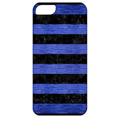 Stripes2 Black Marble & Blue Brushed Metal Apple Iphone 5 Classic Hardshell Case by trendistuff