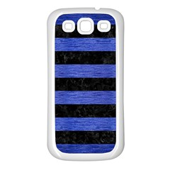 Stripes2 Black Marble & Blue Brushed Metal Samsung Galaxy S3 Back Case (white) by trendistuff