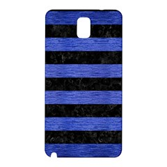 Stripes2 Black Marble & Blue Brushed Metal Samsung Galaxy Note 3 N9005 Hardshell Back Case by trendistuff