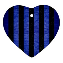 Stripes1 Black Marble & Blue Brushed Metal Heart Ornament (two Sides) by trendistuff