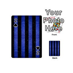 Stripes1 Black Marble & Blue Brushed Metal Playing Cards 54 (mini) by trendistuff