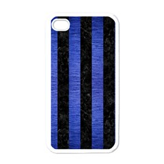 Stripes1 Black Marble & Blue Brushed Metal Apple Iphone 4 Case (white) by trendistuff