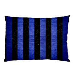 Stripes1 Black Marble & Blue Brushed Metal Pillow Case (two Sides) by trendistuff