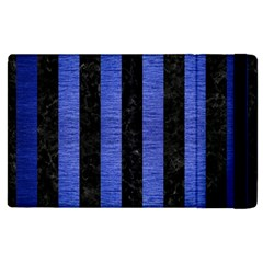 Stripes1 Black Marble & Blue Brushed Metal Apple Ipad 3/4 Flip Case by trendistuff