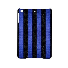 Stripes1 Black Marble & Blue Brushed Metal Apple Ipad Mini 2 Hardshell Case