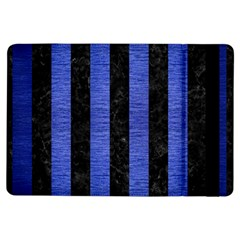 Stripes1 Black Marble & Blue Brushed Metal Apple Ipad Air Flip Case by trendistuff