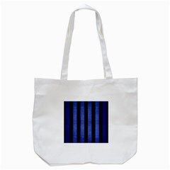 Stripes1 Black Marble & Blue Brushed Metal Tote Bag (white) by trendistuff