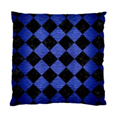 Square2 Black Marble & Blue Brushed Metal Standard Cushion Case (two Sides) by trendistuff