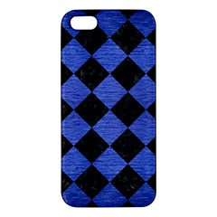 Square2 Black Marble & Blue Brushed Metal Apple Iphone 5 Premium Hardshell Case by trendistuff