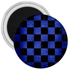 Square1 Black Marble & Blue Brushed Metal 3  Magnet by trendistuff
